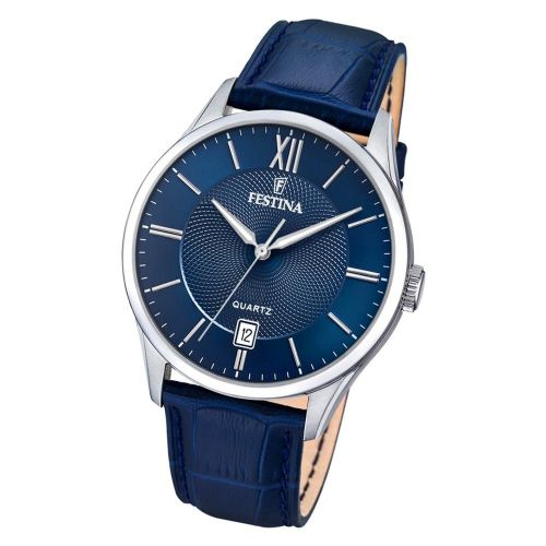 F20426/2 Festina Watch Mens Blue Round Leather Strap Watch